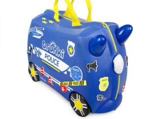 Trunki Percy the Police Car, set forfra med klistermærker.